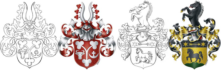 Wappen stiften, mit der Hand gemalt